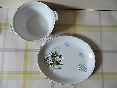 Glo-White Ironstone, Alfred Meakin - White Bird Pictures Bowl & Plate • 2.50£