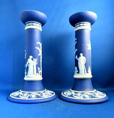 Antique 19thc Wedgwood Blue Jasperware  Large Pair Of Candlesticks- The Muses • 45£