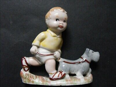 Mabel Lucie Atwell Wade Porcelain Figure Sam Walking The Dog C. 1959 • 16£