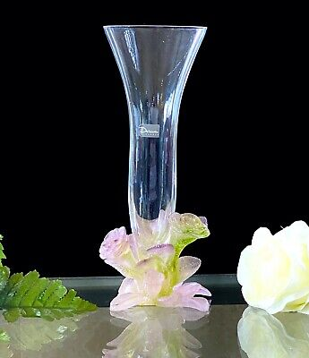 Daum Soliflor Rose Vase Pate De Verre French Crystal Great Condition Signed • 383.12£