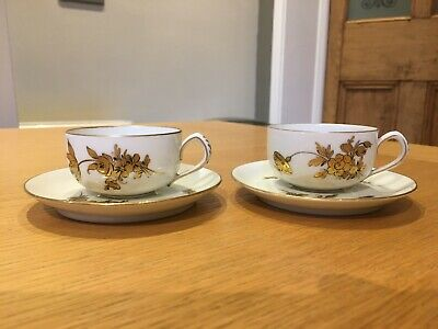 Antique Hand Painted Dresden Porcelain Cup And Saucer X 2 • 10.60£