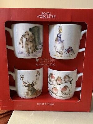 Royal Worcester Wrendale Mugs Christmas Boxed Set • 30£