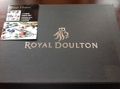 Royal Doulton Brand New 14 Piece Table, Place Mats, Coaster Set, Orchard Fruits • 15£