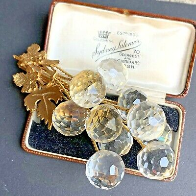 Vintage Cut Crystal Grape Bunch Ornament Gold Tone Leaves • 12£