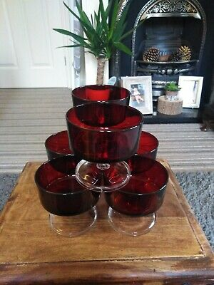 6 Vintage/retro Ruby Red Dessert Dishes On Clear Glass Pedestal  • 7.99£