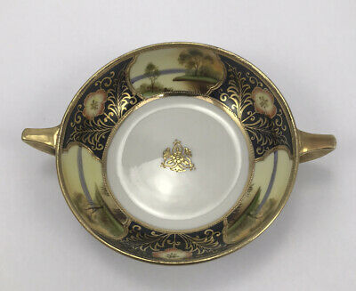 Noritake Small Gilded Bowl C1900 Great Scene With Handled • 19.99£
