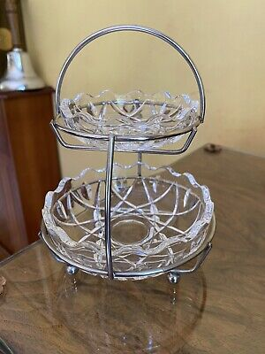 Vintage Cut Glass Crystal Jam And Cream Pots In Silver Plated Basket • 4£