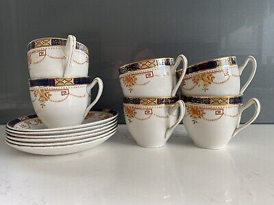 Vintage Alfred Meakin Garland 6 Cups And Saucers • 10£