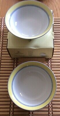 NEW Royal Doulton Blueberry 2 X Cereal Bowls, Boxed. Yellow/Blue/White • 6£
