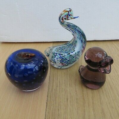 Bundle Job Lot Of 3 Glass Ornaments Apple , Swan & Duck As Per Photos  • 4.99£