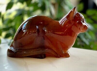 Daum Chat Couche (Crouching Cat) Pate De Verre Large 11  Great Condition Signed • 1,765.59£