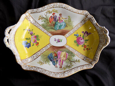 Antique Hand Painted Double Handle Dresden Oblong Dish - Watteau Lovers -flowers • 55£