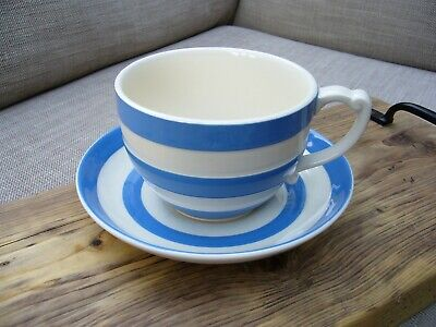 TG Green Cornishware Oversized Cup And Saucer - Green Stamp On Saucer • 12.50£