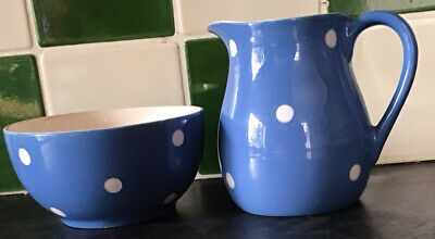 Vintage Blue Domino Pattern Milk Jug & Sugar Bowl - T G Green • 19.50£