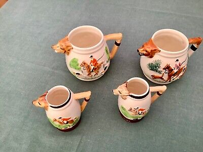 COLLECTION OF 4 JUG KEELE STREET POTTERY STAFFORDSHIRE CHEDDAR FOX HUNTING SCENE • 4£