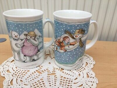 Pair~Royal Doulton~ THE SNOWMAN  Mugs~ Walking In The Air  &  The Party ~1985 • 14.99£
