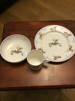 Tiffany & Co CHILD'S PORCELAIN DISH SET -Plate, Cup, Bowl Gift Box Carousel  • 70£