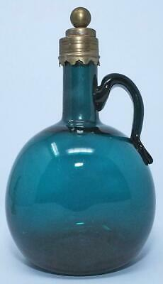 EXCELLENT RARE LATE 18th C PEACOCK BLUE  GLASS SPIRIT FLASK DECANTER • 49.99£