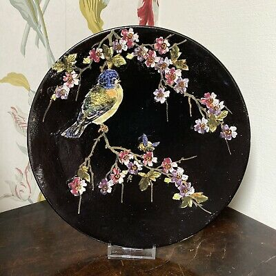 Bretby Plate Wall Charger Black Bird Cherry Blossom Cloisonne Antique Aesthetic • 19.95£