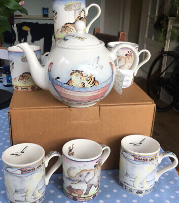 ARTHUR WOOD NOAH'S ARK Tea Pot And Six Mugs • 100£