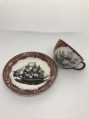 Retro Grays Pottery  Galleon Tall Ship Lustre Cup & Saucer • 13.99£