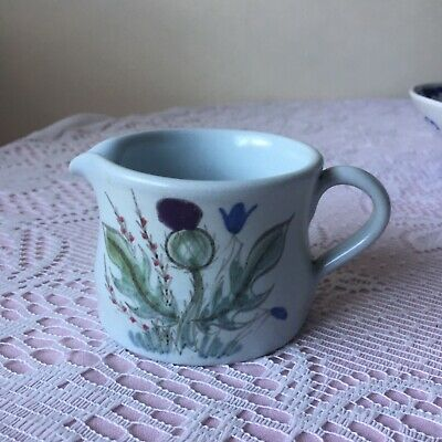 Finest Stoneware Decorated Thistle Jug Made In Scotland & Signed With An S • 4.40£