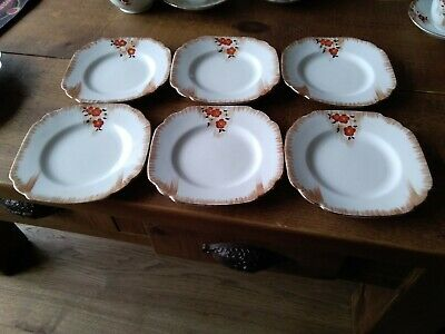 Melba Ware China X 6  Lovely Vintage Tea Plates  Hand Painted 6 Ins Wide, Vgc • 7.50£