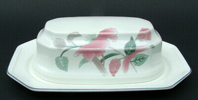 Mikasa Continental Silk Flowers Butter Dish & Lid 20.5cm - In NEW & UNUSED COND • 24.95£