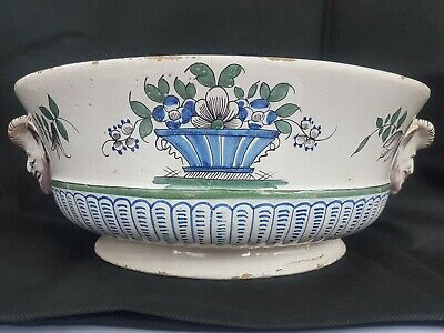 Large French Faience Tinglaze Bough Pot ~ Shabby Chic ~ Antique • 40£