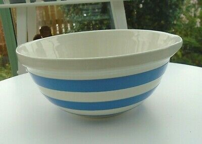 Large 10  Vintage T G Green Cornishware Mixing Bowl Blue & White Fruit Display • 14.99£