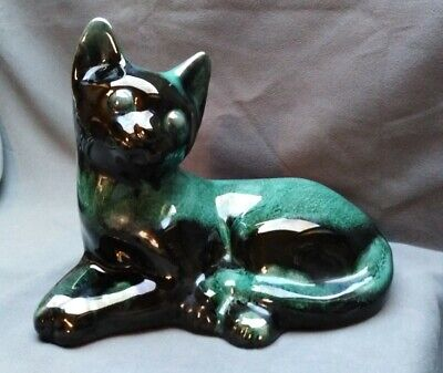 Art Pottery Seated Cat Turquoise Drip Glaze By Blue Mountain Pottery Canada • 14.50£