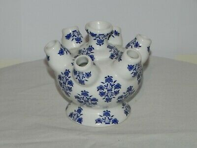 Superb Small Tulip/Bud Vase Blue & White With Transfer Decoration-Height 11cm  • 19.99£