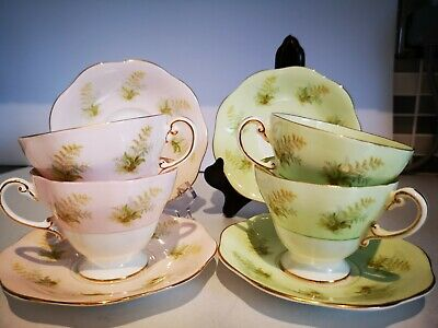 Beautiful Foley Set Of 4 Bone China Cups And 4 Saucers. Pink And Lime.  • 29£