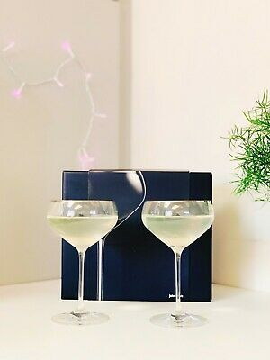 John Lewis Wine Champagne Glasses Set Of 2 Fine Crystal Glass Saucers  • 15.95£