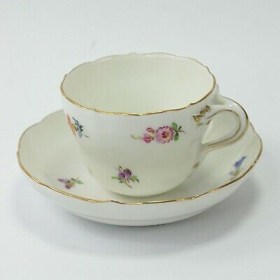 Sevres Porcelain Teacup & Saucer Hand Painted Flowers Antique Crossed Swords #3 • 80£