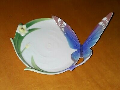 Franz Porcelain Blue Butterfly Pin Tray • 9£