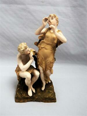 ANTIQUE ERNST WAHLISS TURN TEPLITZ BOHEMIA COUPLE PLAYING PAN PIPES 1900's • 105£