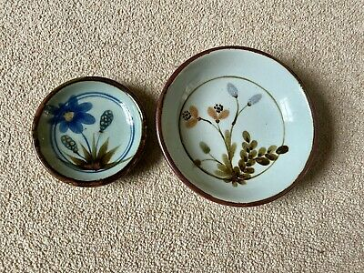 Highland Stoneware Lochinver, Ullapool. Pair Of Celadon Floral Dishes. • 15£