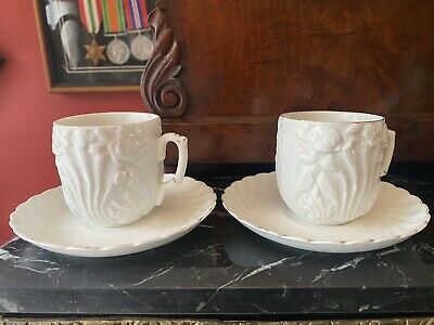 Pair Antique Creamware Possible Leeds Pottery Cups & Saucers • 20£