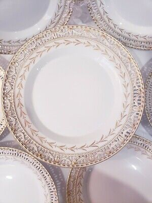 Vintage KPM Gold Swag Reticulated Porcelain Plates And Footed Tazza Germany • 1,313.58£