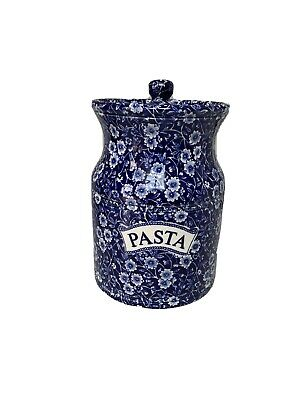 Burleigh Calico Staffordshire- Blue And White Floral Pasta Jar With Lid • 20£