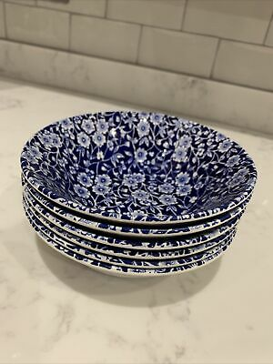 CALICO BURLEIGH STAFFORDSHIRE - BLUE&WHITE CEREAL/DESSERT BOWLS 16cmsX6.5in X6 • 6.90£