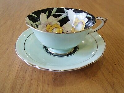 Paragon Cabinet Cup & Saucer Daffodils On Black Mint Green Double Warrant 1940s • 35£