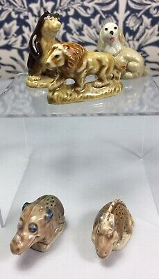 Five Wade Whimsies - Brown Bear, Lion, Spaniel And Flintstone Dinosaurs • 7.99£