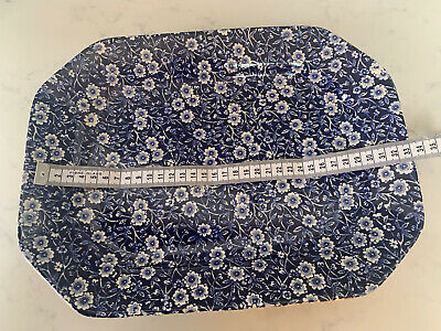 CALICO BURLEIGH STAFFORDSHIRE - BLUE&WHITE LARGE SERVING PLATE/PLATTER 33X25cms • 25£