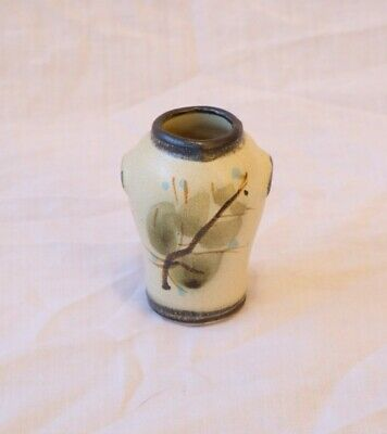 Rustic Stoneware Pottery Decorative Vase Hand Painted - Beige • 4.99£