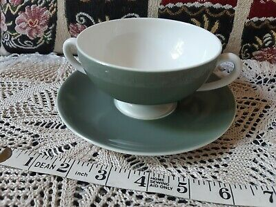 Wedgwood  2-Handled Cream Soup Cup & Saucer • 12£