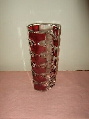 Vintage Vase Cranberry Red Cut Glass Geometric • 7£