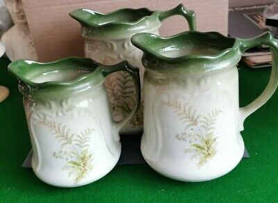 THE REME COLLECTION SET OF 3 JUGS EX CONDITION GREEN FERNS Nt • 22.99£