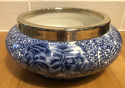 Vintage J Kent Fenton Pottery Ye Olde Foley Ware Blue And White Bowl Metal Rim • 44.99£